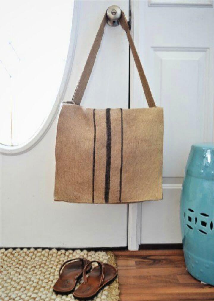 How To Make A DIY Burlap Messenger Bag