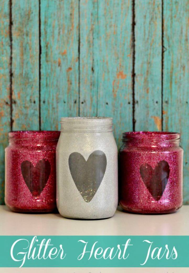 How To Make Your Own DIY Glitter Heart Jars