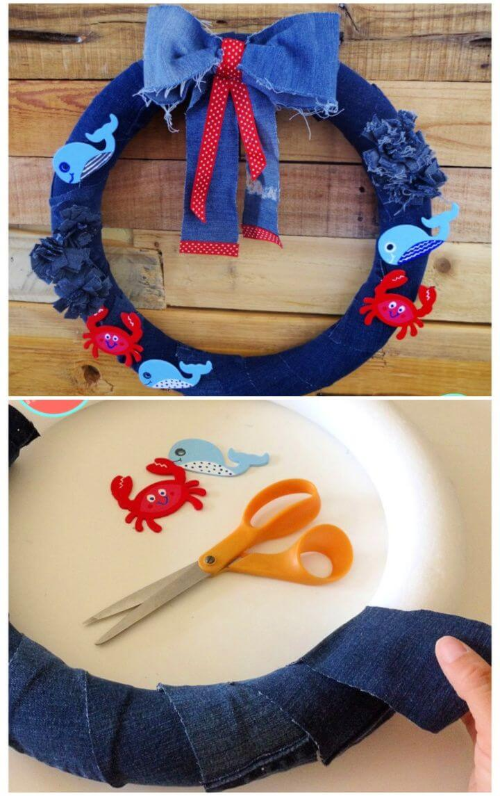 How to Make a DIY Cute Nautical Wreath from Old Jeans