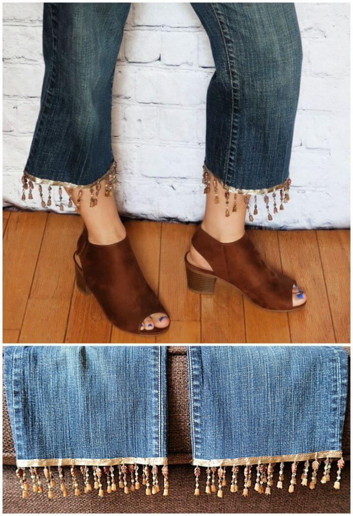 How to Upcycle Old Jeans with Beaded Fringe