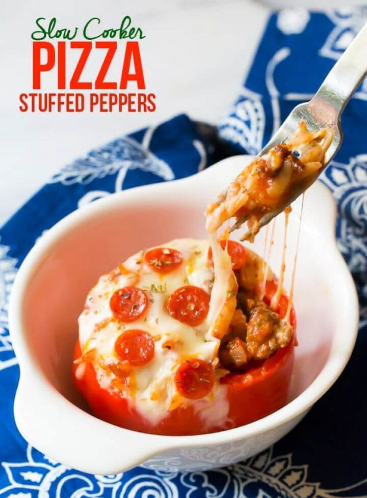 Pizza Slow Cooker Stuffed Peppers