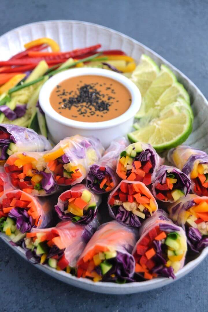 Rainbow Veggie Spring Rolls With Peanut Dipping Sauce