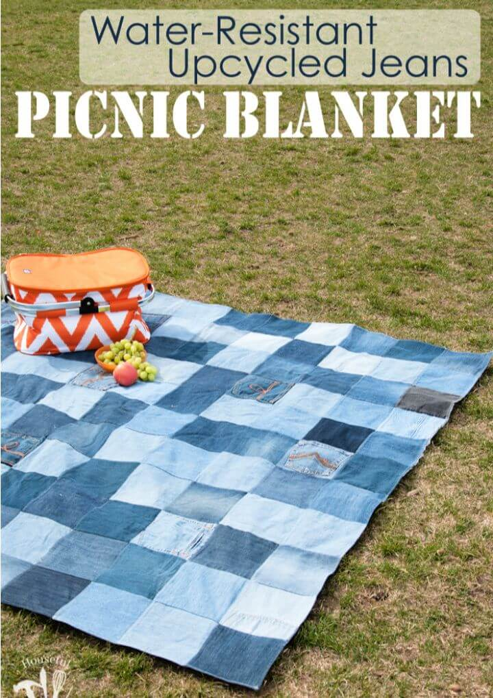 Resistant Upcycled Jeans Picnic Blanket