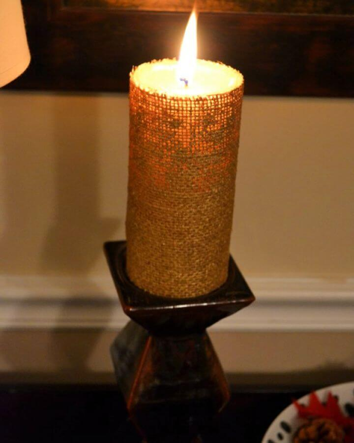 Simple DIY Pottery Barn Burlap Candle