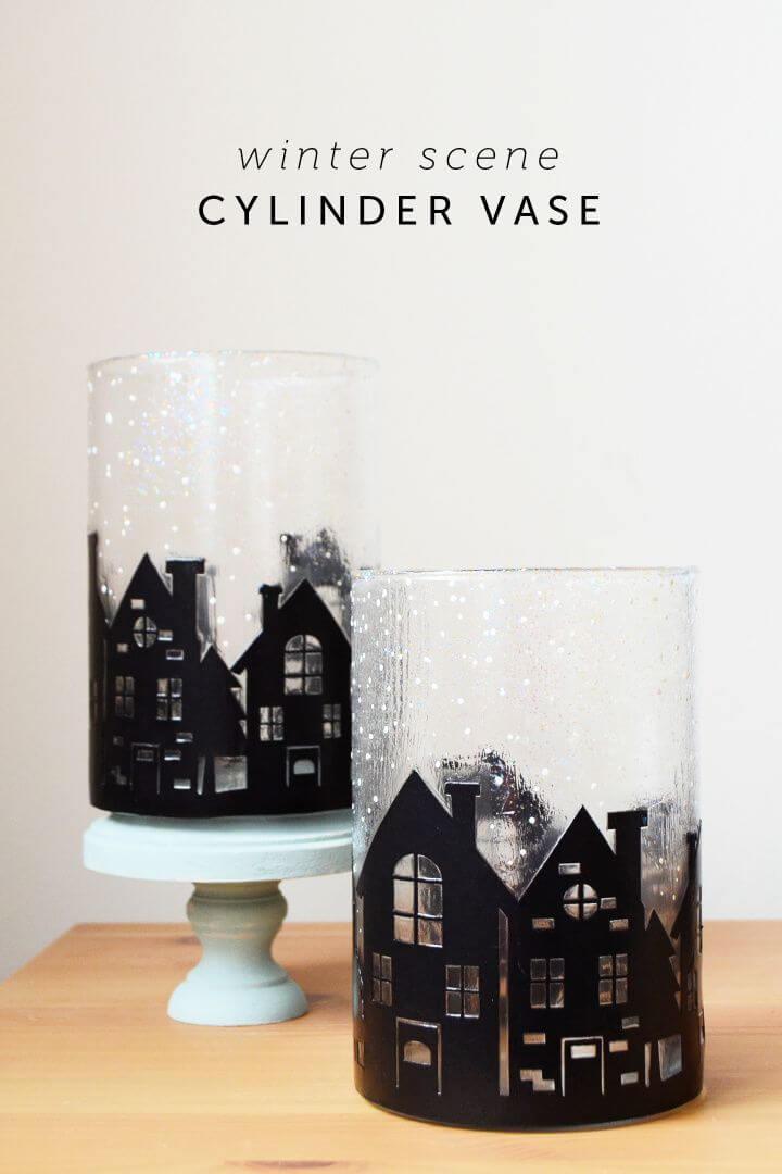 Simple DIY Winter Scene Cylinder Vase Decor