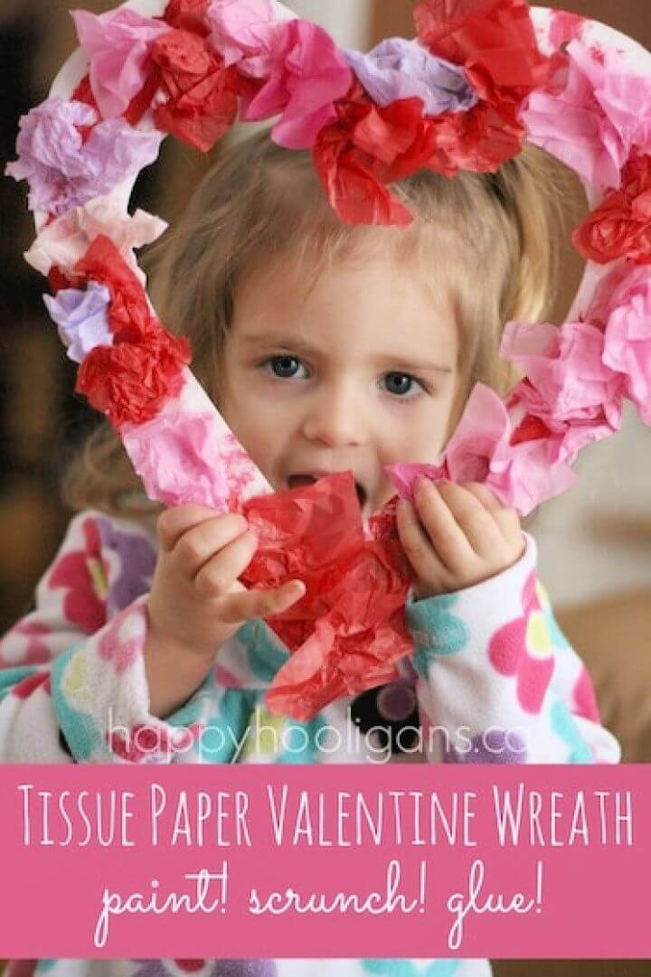 Tissue Paper Valentines Wreath for Toddlers to Make