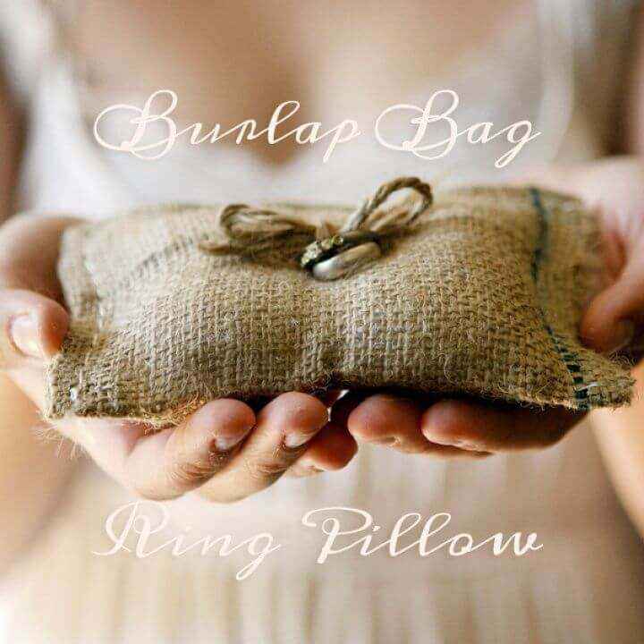 Adorable DIY Burlap Bag Ring Pillow