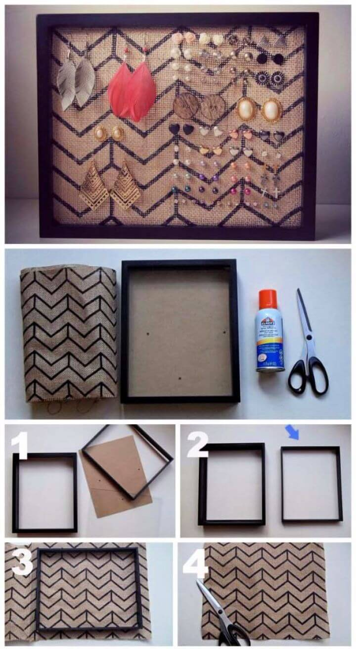 Adorable DIY Burlap Frame Earring Holder