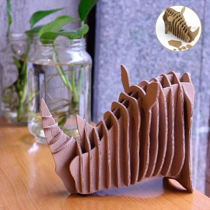 Adult Puzzle Games Wall decor DIY Crafts Cardboard Rhino Head