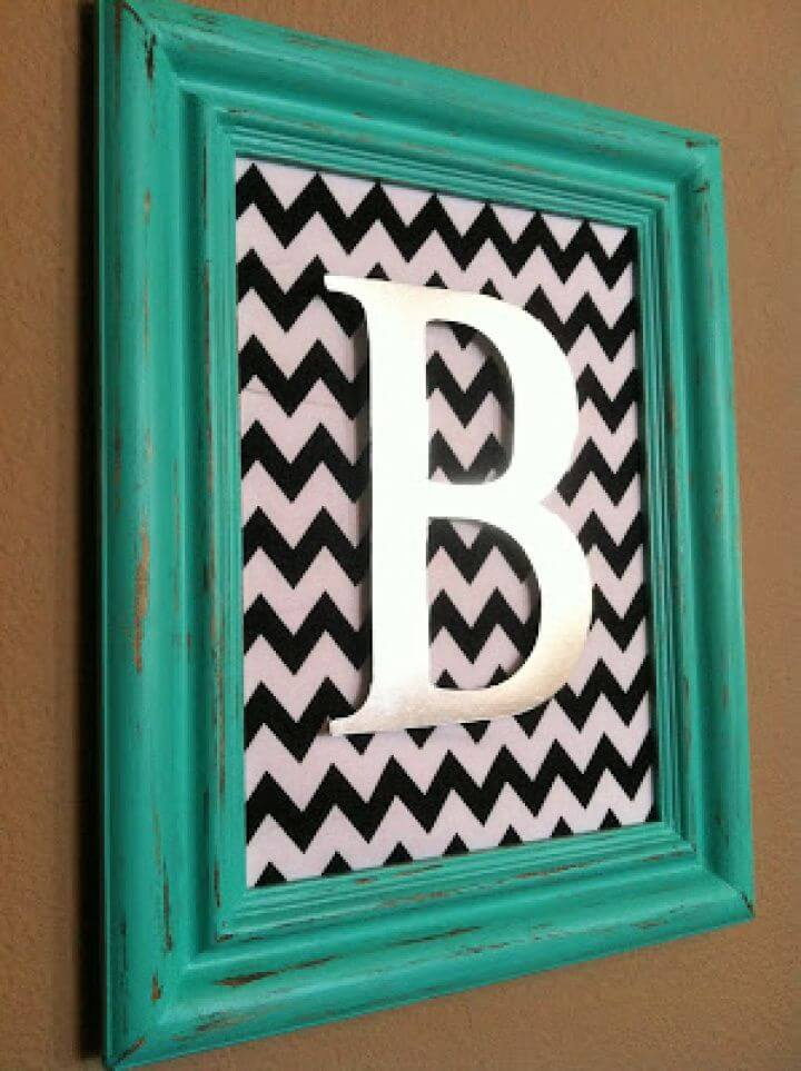 Aqua Distressed Monogram Frame