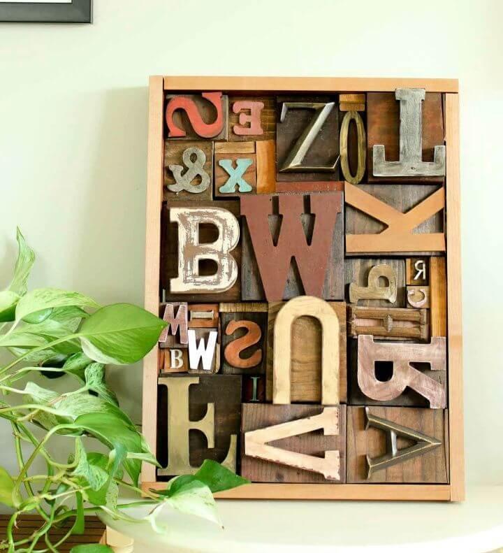 Art Idea With Faux Letterpress Print Blocks