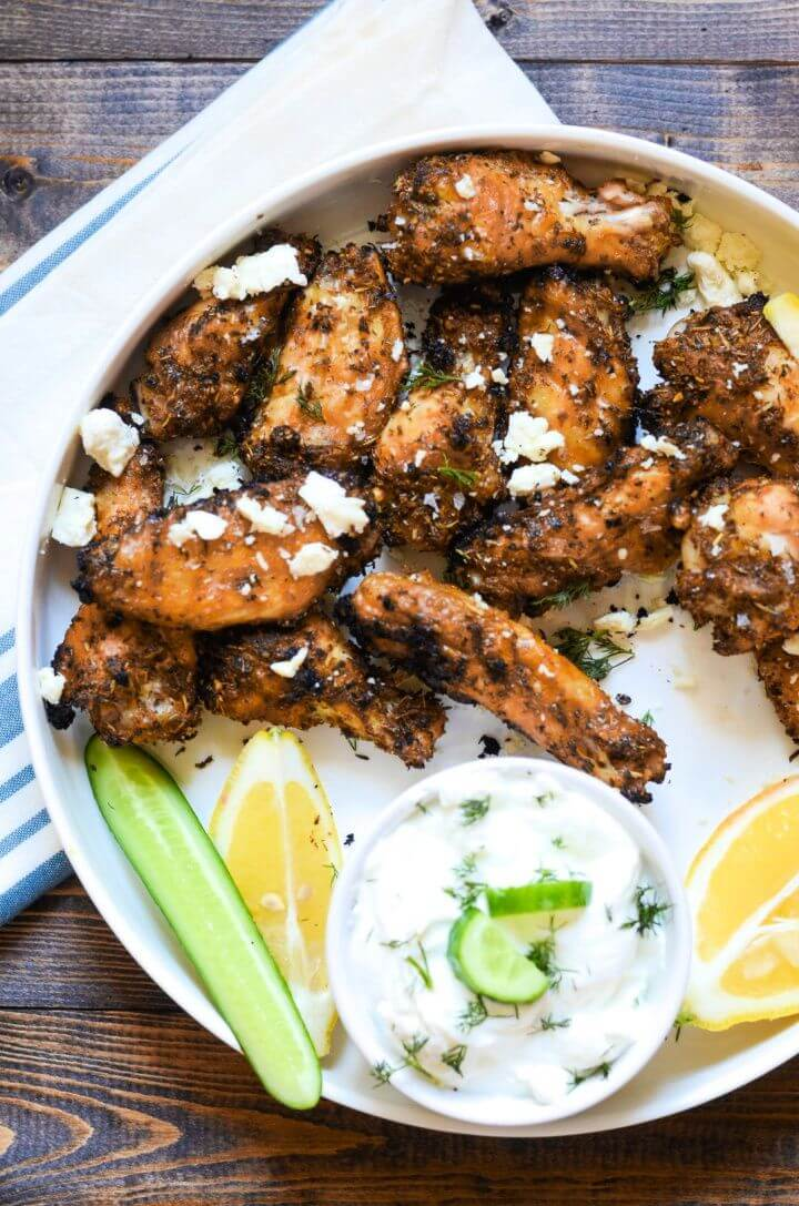Baked Greek Chicken Wings with Tzatziki