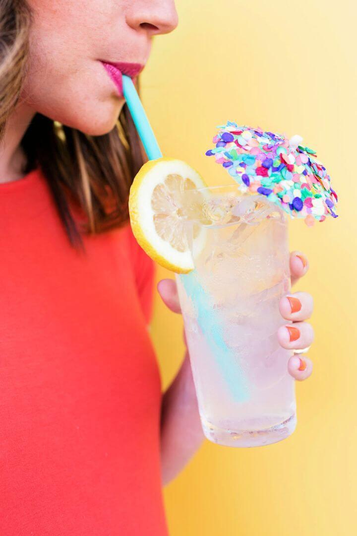 Best DIY Confetti Drink Umbrella