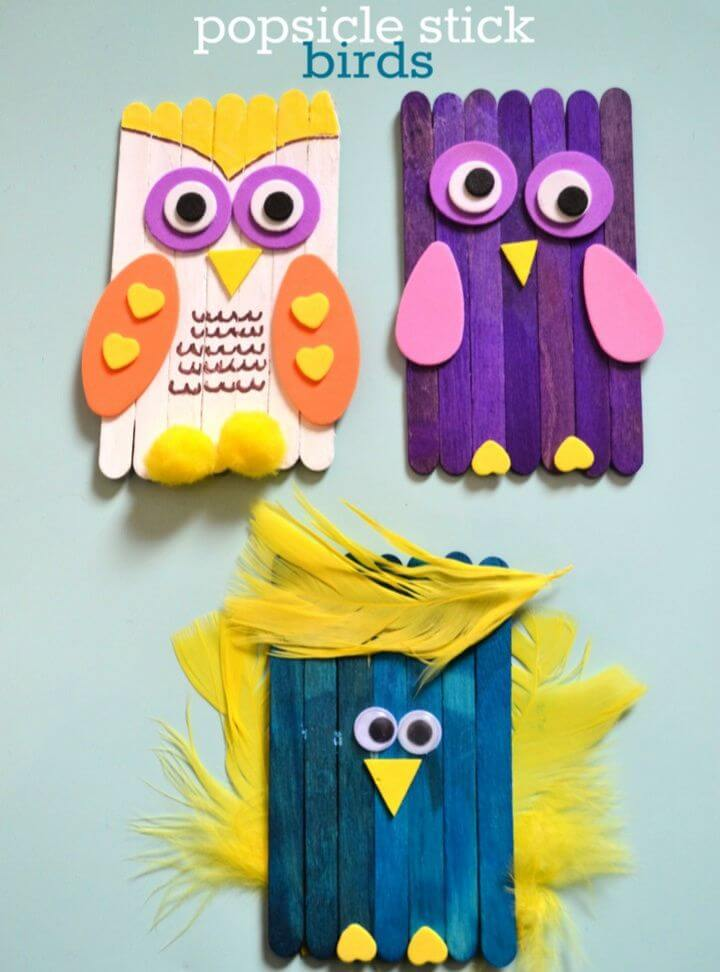 Bird Craft Using Popsicle Sticks
