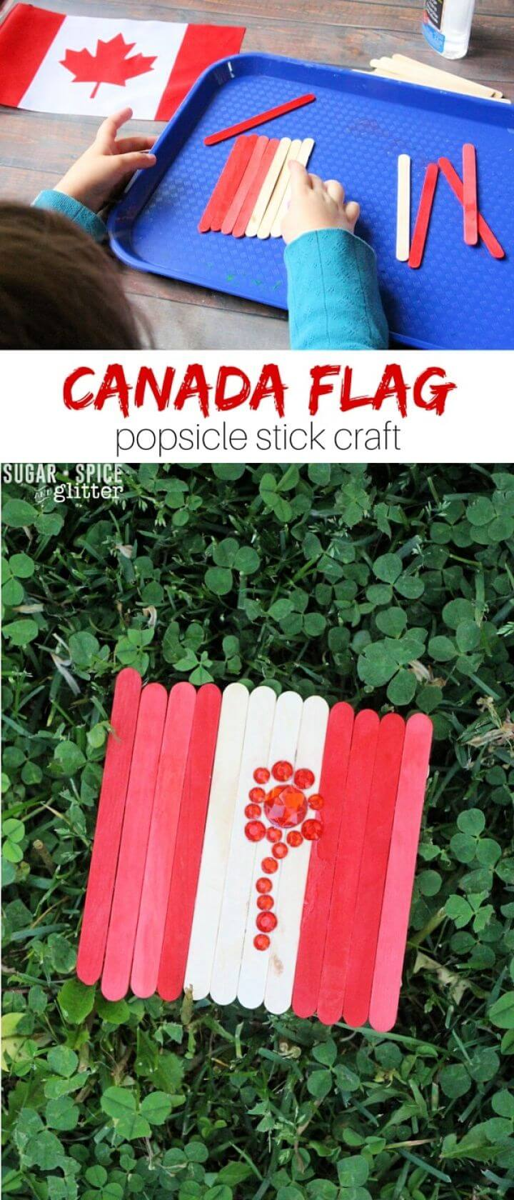 Canada Flag Popsicle Stick Craft
