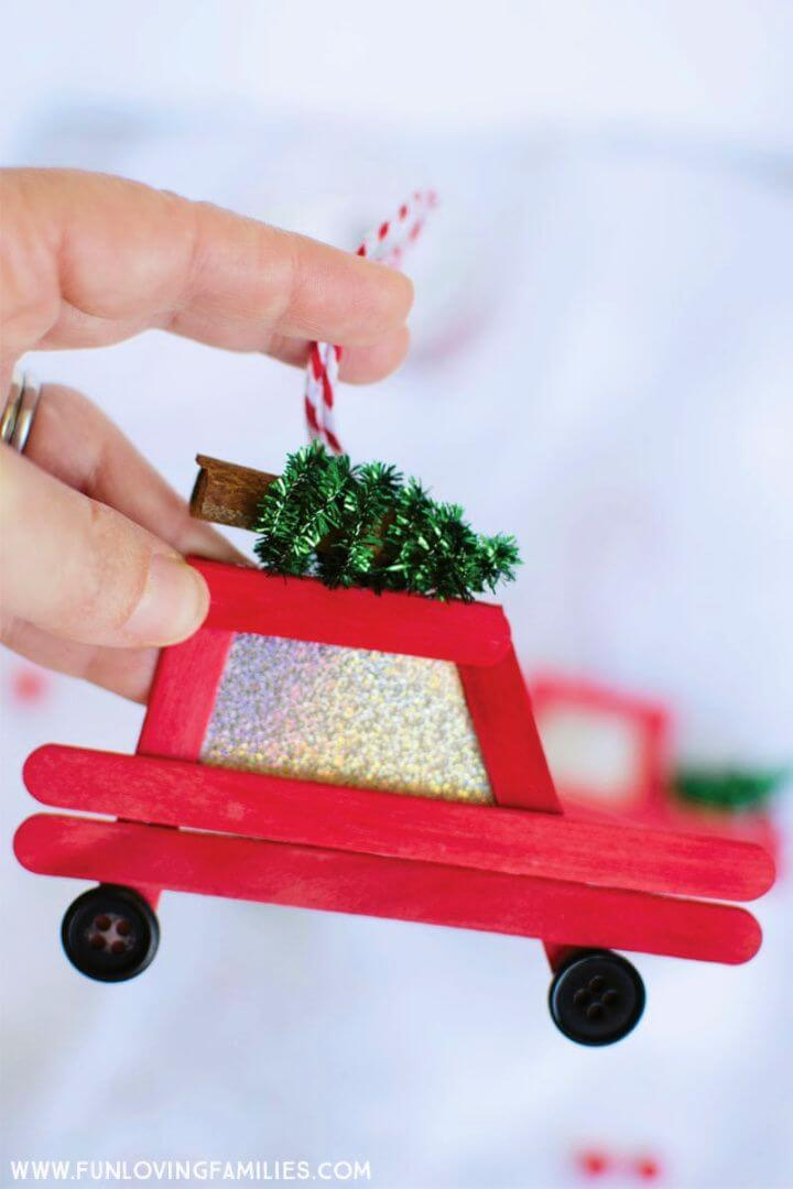 Car Popsicle Stick Christmas Ornaments