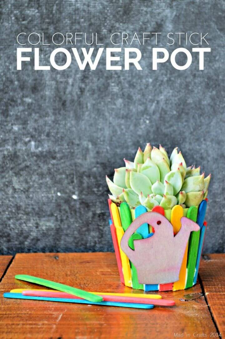 Craft Stick Flower Pot
