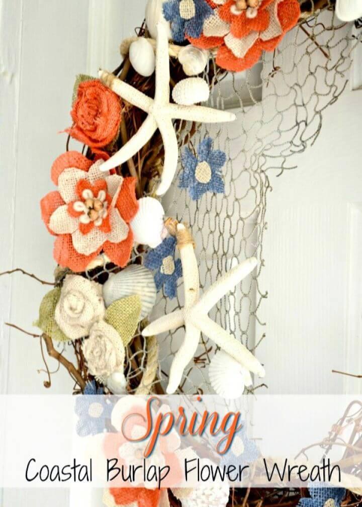 Create A DIY Coastal Burlap Flower Wreath Tutorial