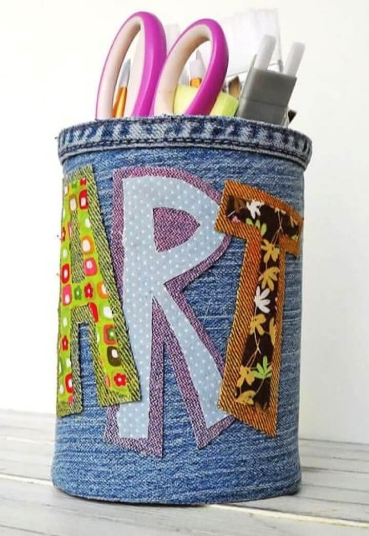 Cute DIY Denim Covered Pencil Can