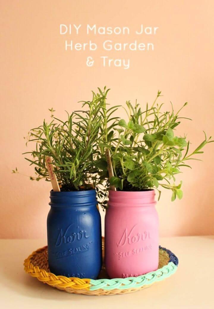 Cute DIY Painted Mason Jar Herb Garden