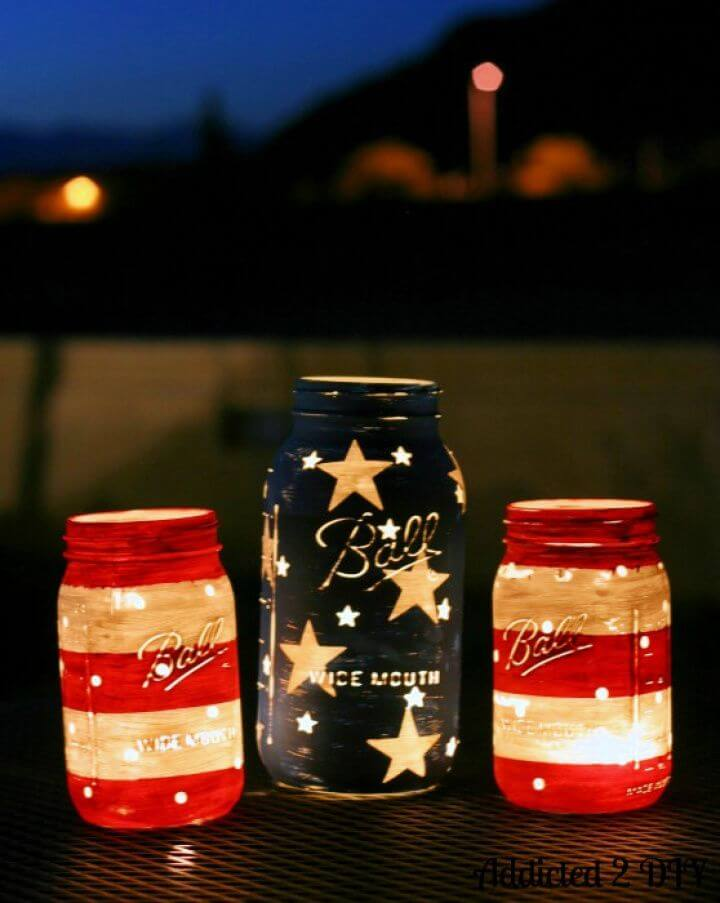 Cute DIY Patriotic Mason Jar Lanterns