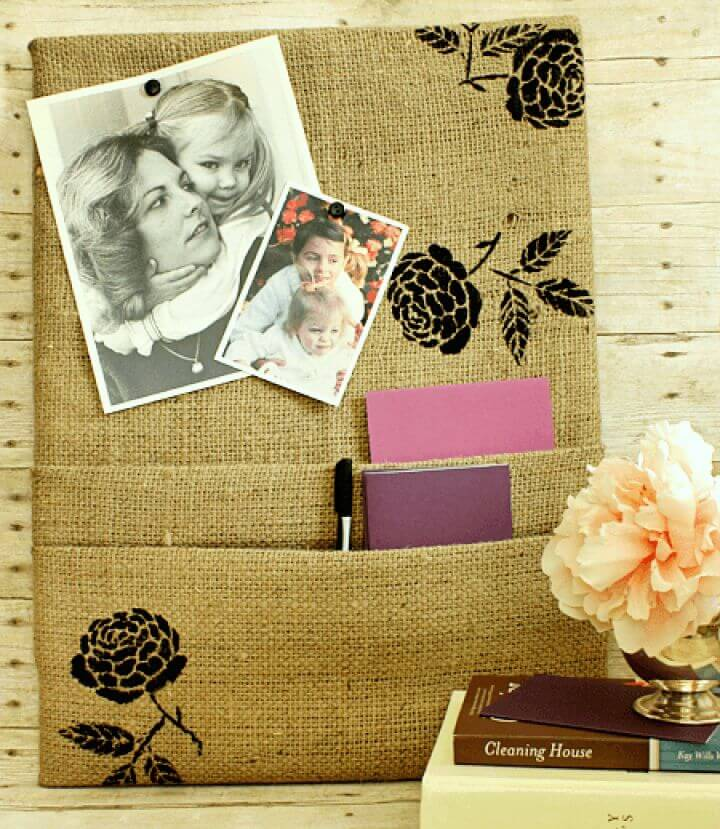 DIY Burlap Corkboard With Pockets