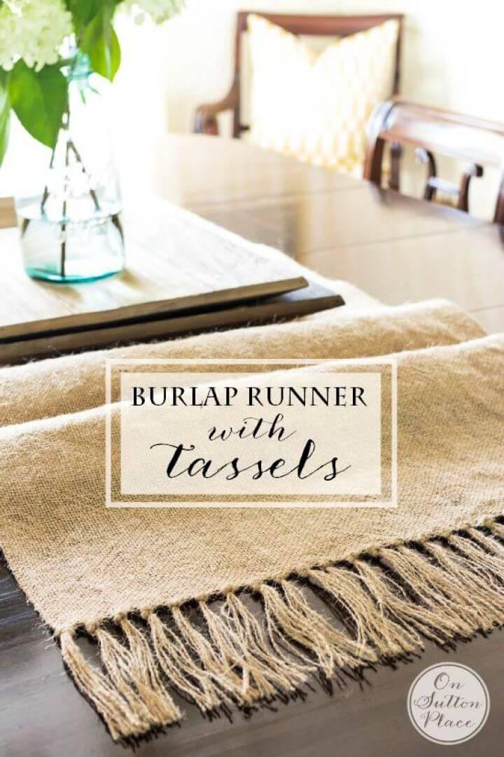 DIY Burlap Table Runner with Tassels