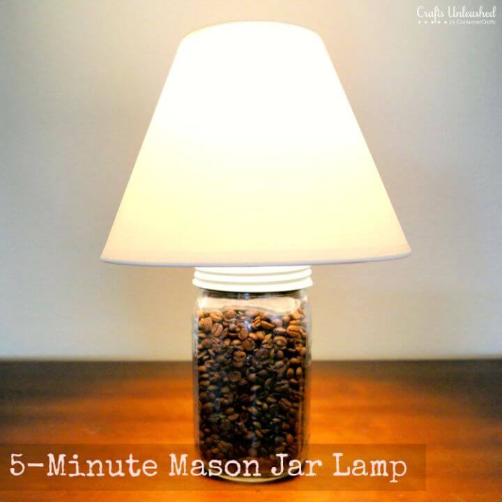 DIY Coffee Bean 5 Minute Mason Jar Lamp