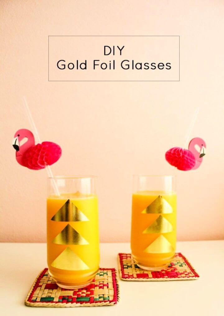 DIY Gold Foil Glasses And Tray