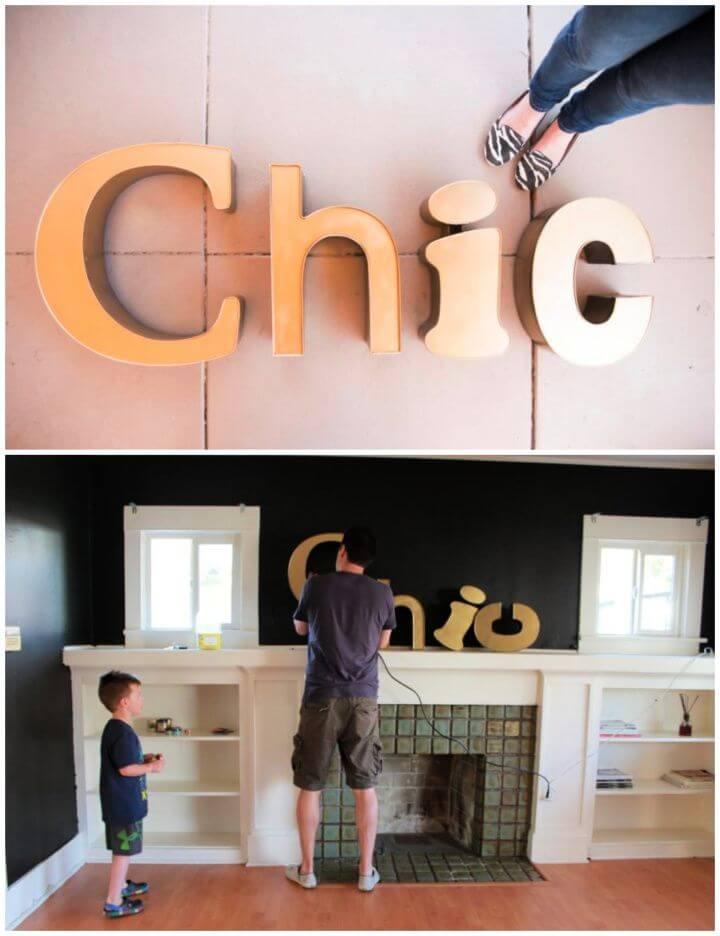DIY Gold Vintage Signage Wall Art