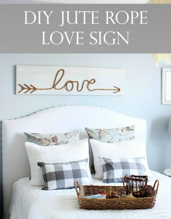 DIY Jute Rope Love Wooden Pallet Sign