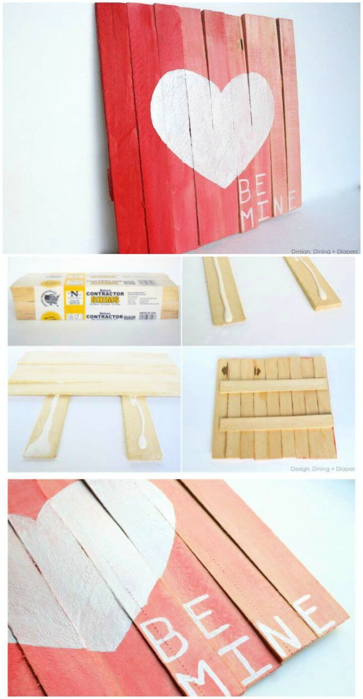 DIY Mini Pallet Valentine's Day Art