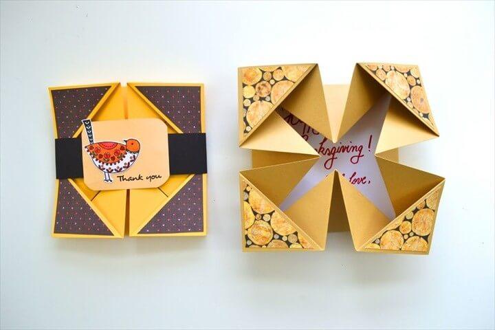 DIY Napkin Fold Card Thanksgiving Craft