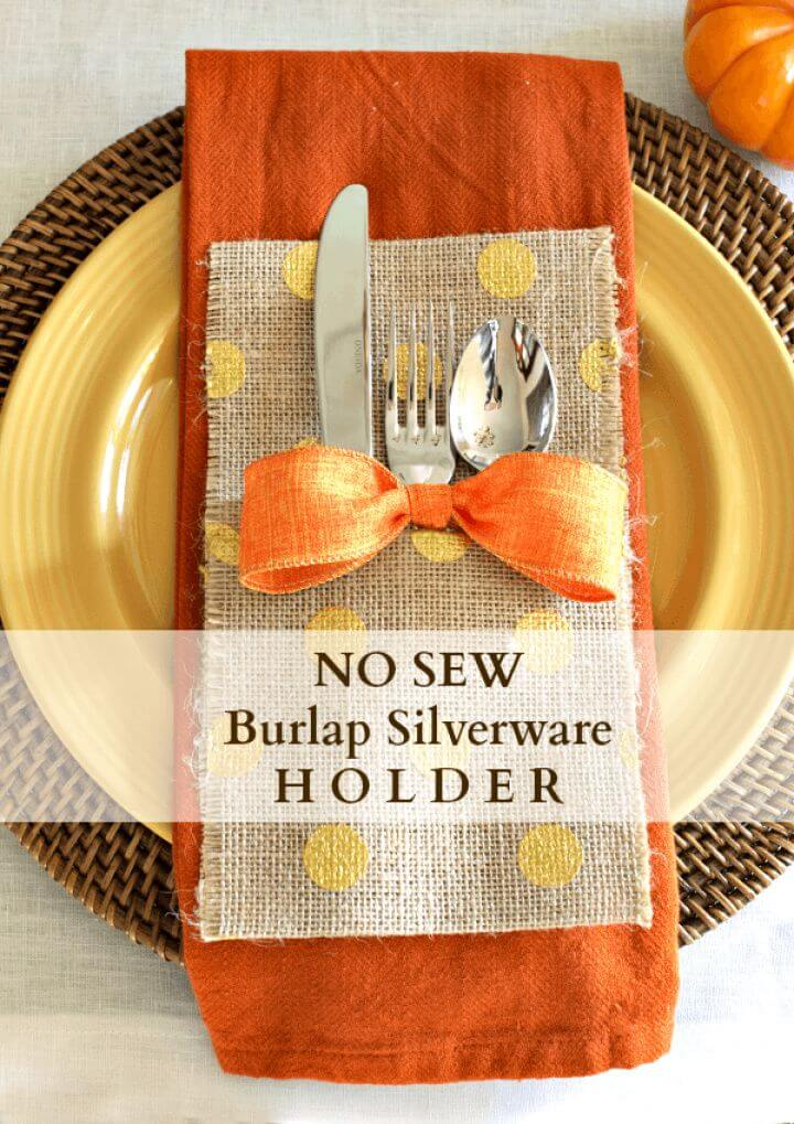 DIY No Sew Burlap Silverware Holder