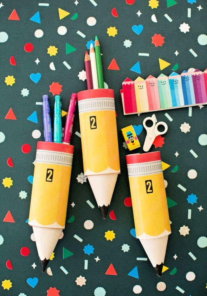 DIY Paper Pencil Tube Craft With Free Printable Template