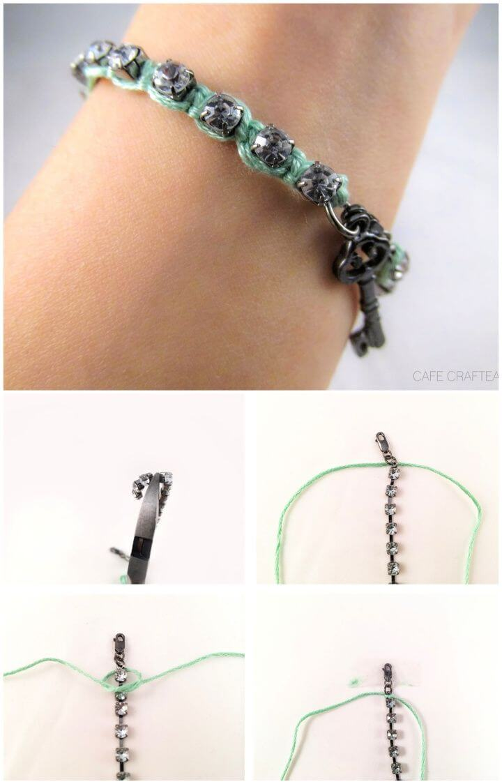 DIY Rhinestone Wrapped Charm Bracelet