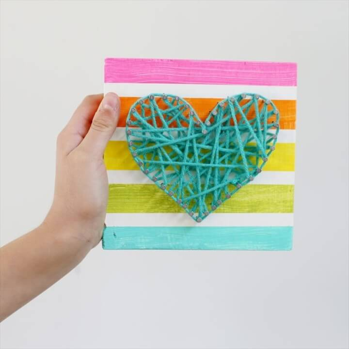 DIY Summer Craft String Heart Wall Art Tutorial