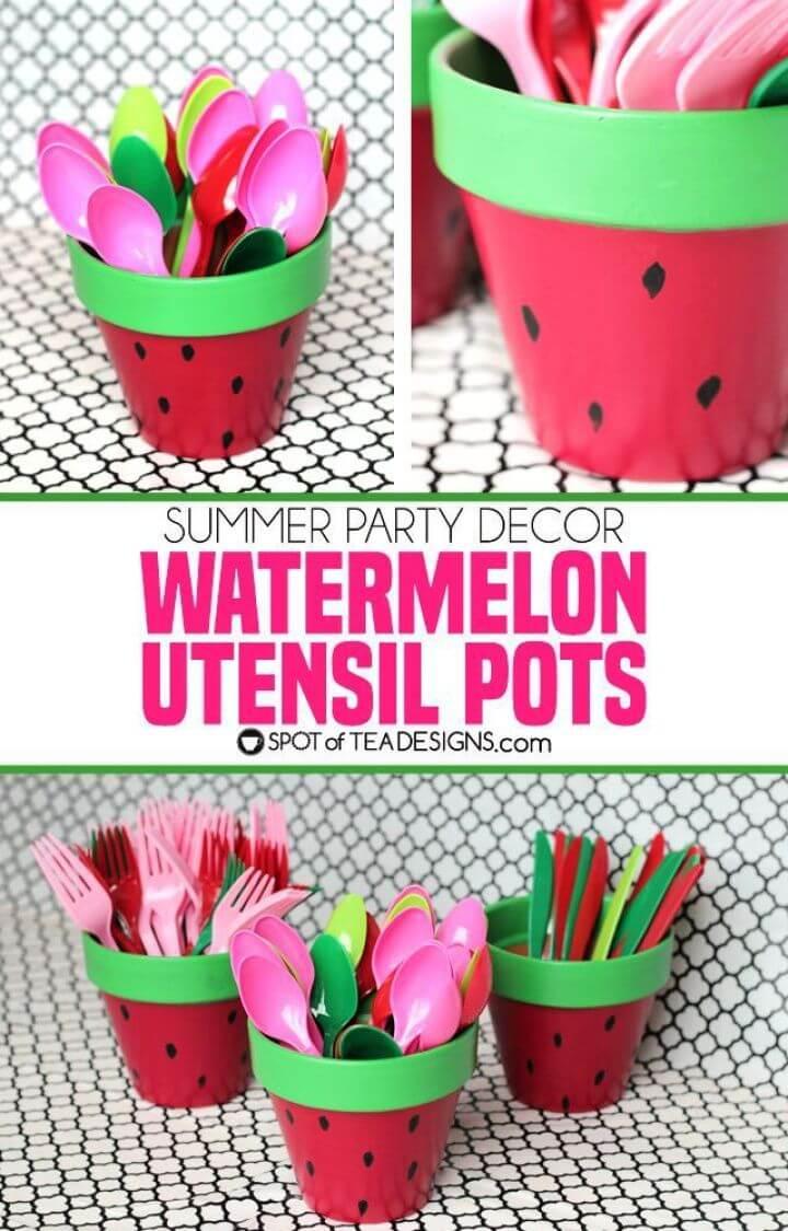 DIY Watermelon Utensil Holders from Terracotta Pots