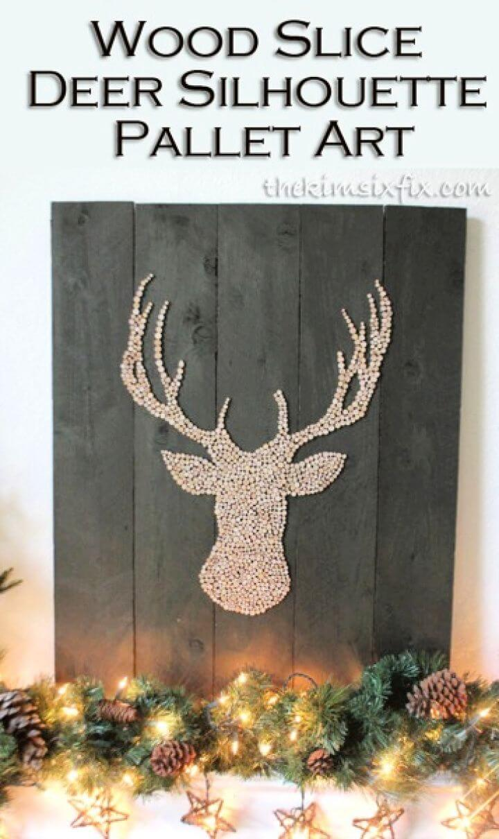 DIY Wood Slice Deer Head Silhouette Pallet Art