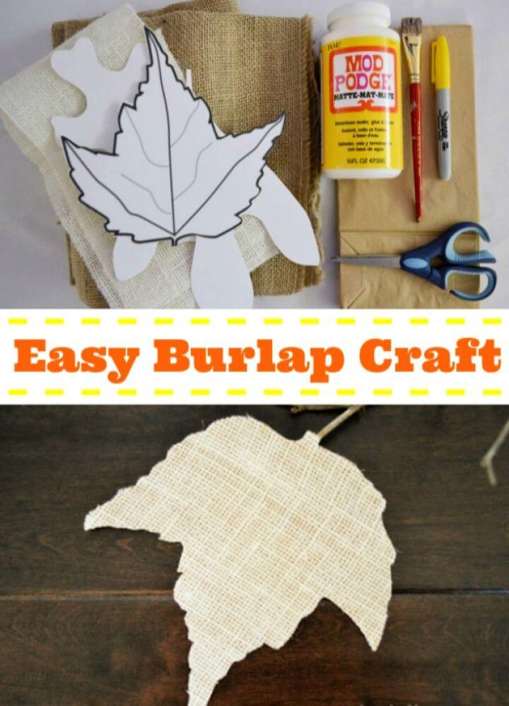 Easy DIY Fall Leaves with Burlap and Paper Sacks