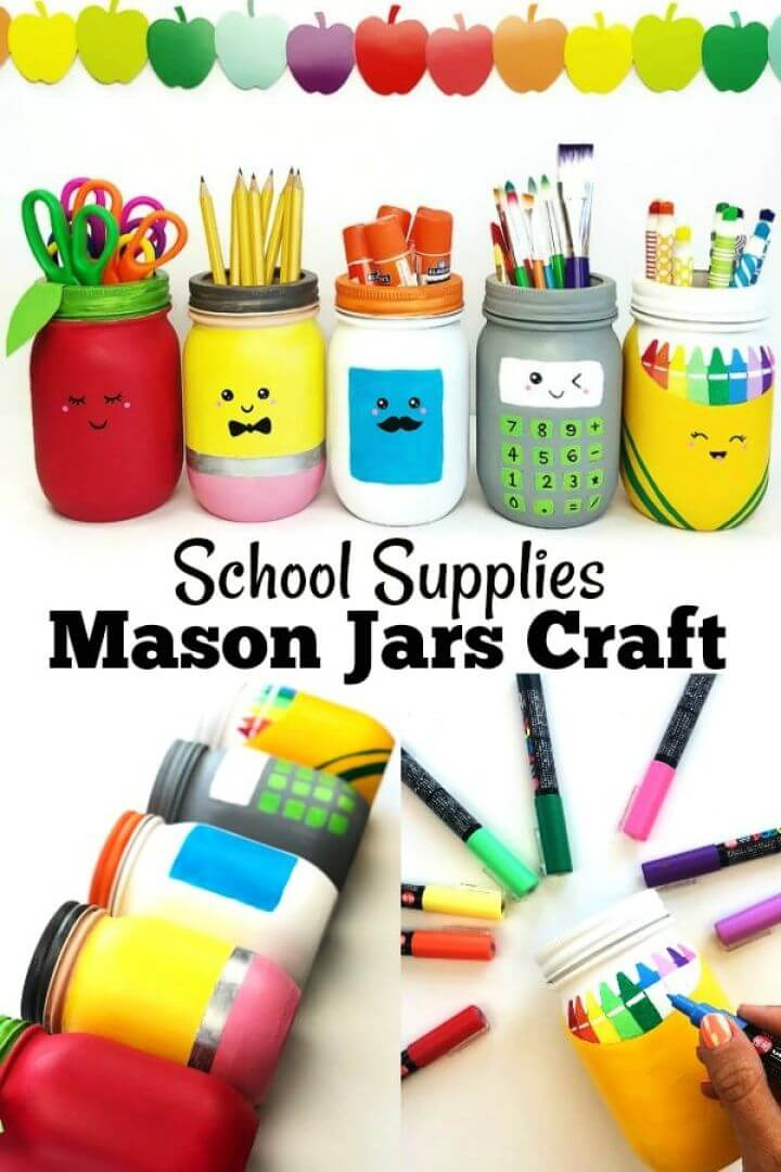 Easy DIY Mason Jars Craft for School Supplies