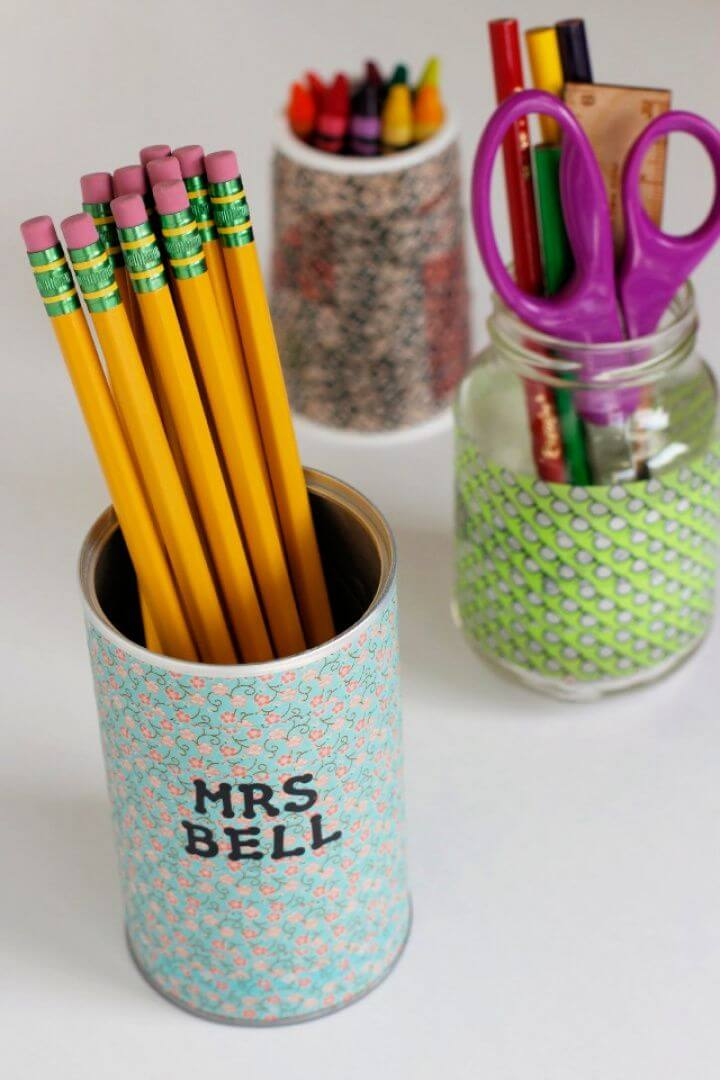 Easy DIY Washi Tape Pencil Holders