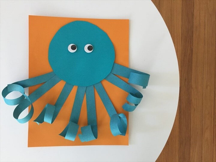 Easy Summer Craft for Kids Curly Paper Octopus
