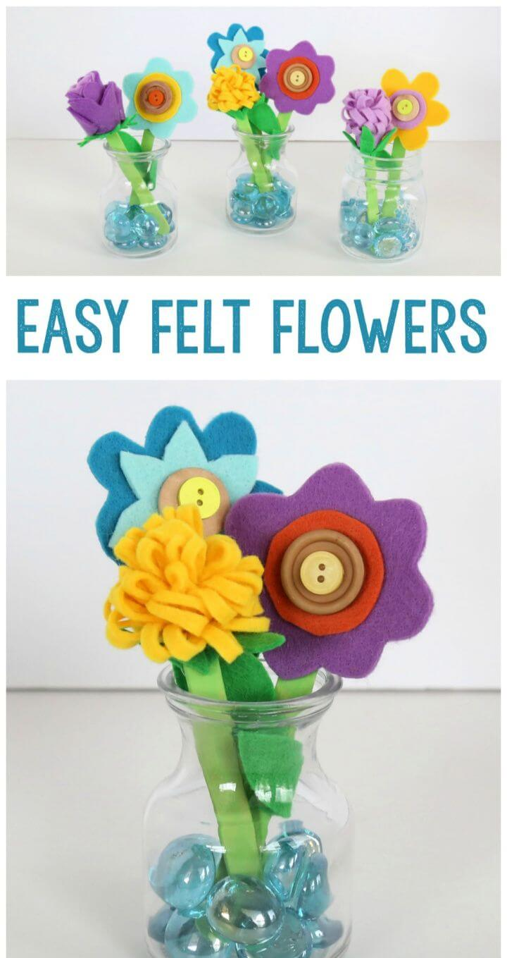 Felt Button And Popsicle Stick Flowers