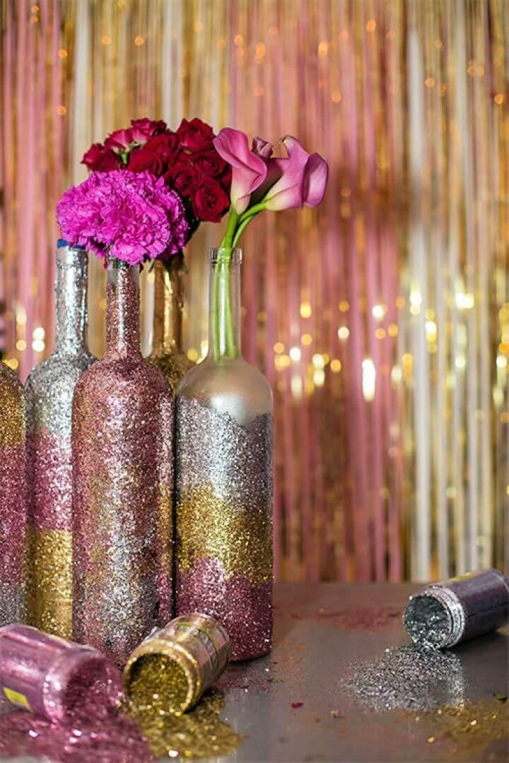 Glitter Wine Bottle Centerpieces