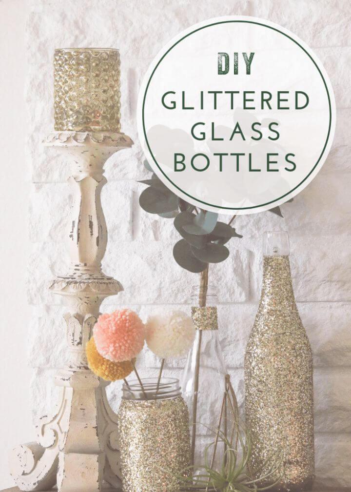 Glittered Wine Bottles