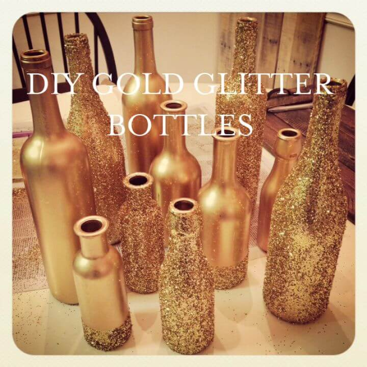Gold Glitter Centerpiece Bottles
