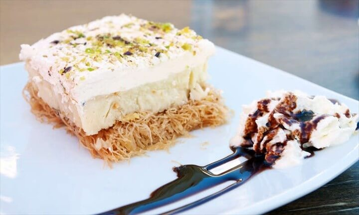 Greek Ekmek Kataifi Recipe Custard and whipped cream pastry with syrup