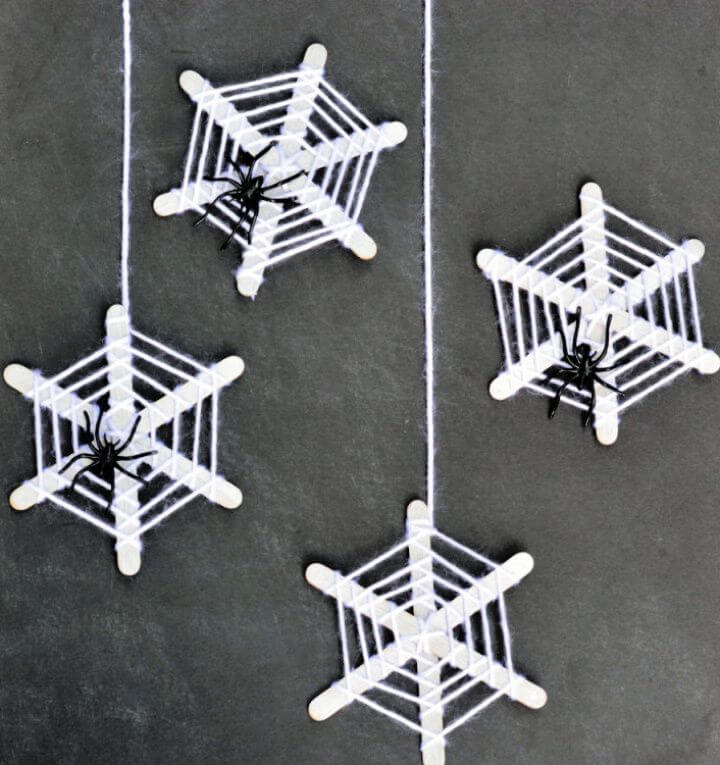Halloween Crafts for Kids Craft Stick Spiderwebs