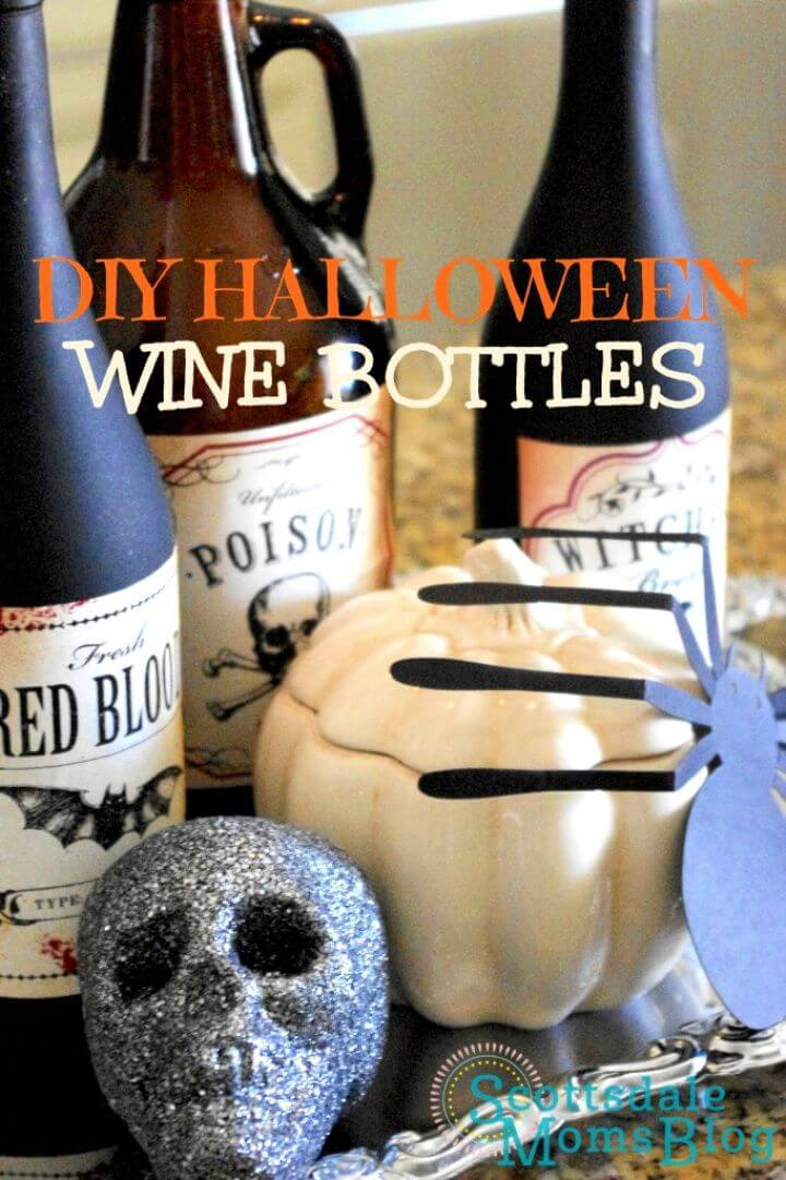 Halloween Decorations Using Your Empty Wine Bottles